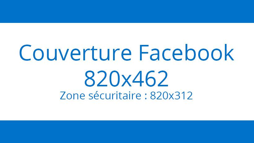 La couverture Facebook, au format 820 x 462 pixels.